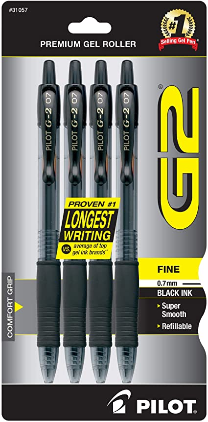 Black Ink Fine Point 4-Pack 31057 PILOT G2 Premium Refillable /& Retractable Rolling Ball Gel Pens - 1