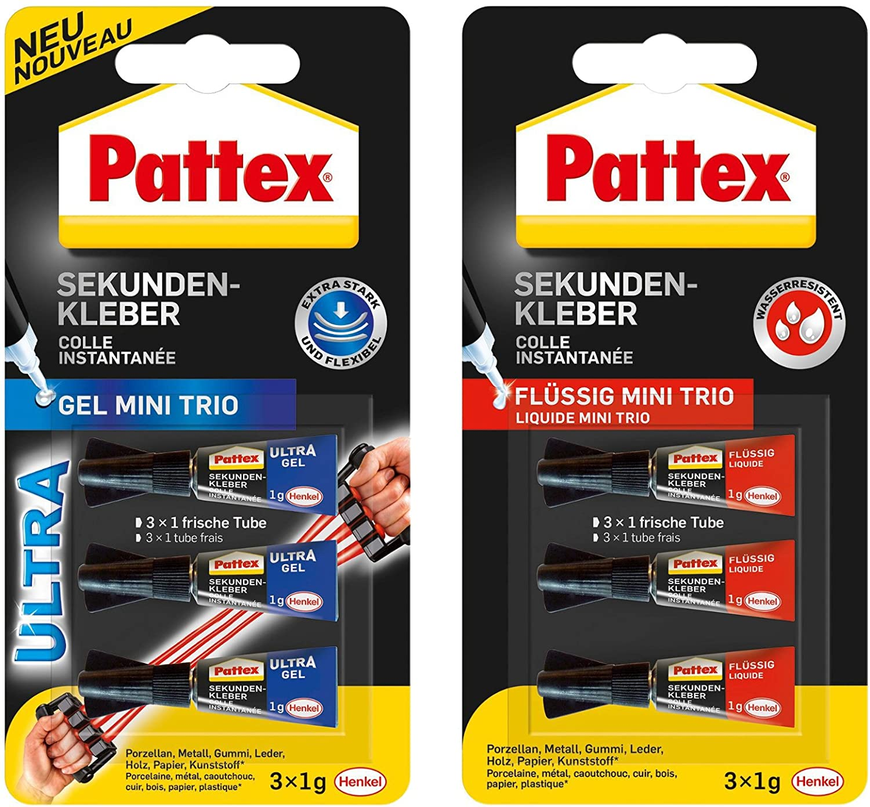 Pattex Sekundenkleber Mini Trio 3 X 1g Tuben Kombi Set 1 Packung
