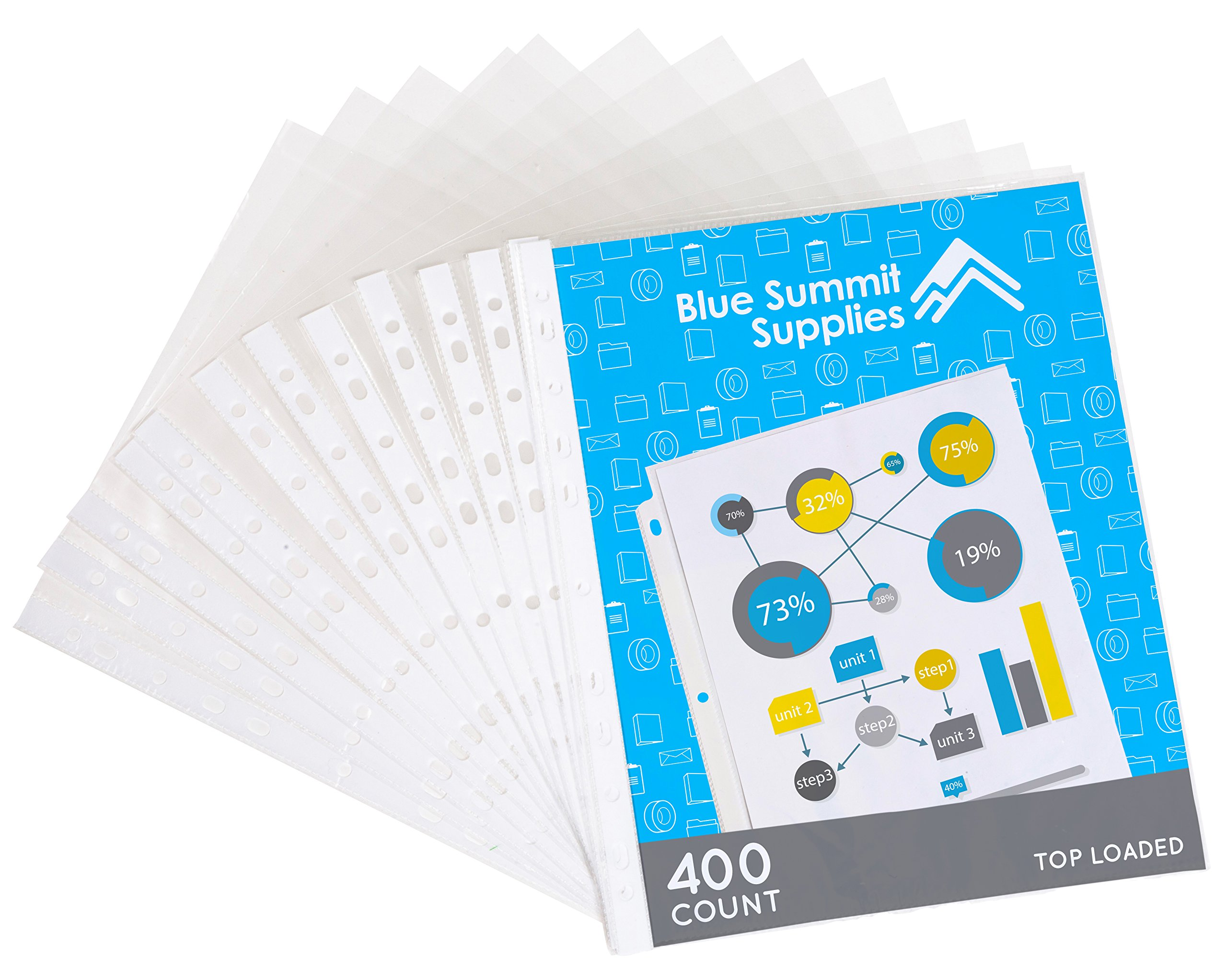 400 Sheet Protectors, 11 Hole Economy Design, designed to protect frequently used 8.5 x 11 papers, Acid and PVC Free, Clear Glare Free design, 9.25 x 11.25 Top loaded, 400 PACK