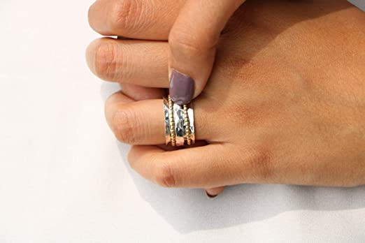 Energy Stone BALANCE AND BEAUTY Etched Floral Meditation Spinner Ring Size 6-11