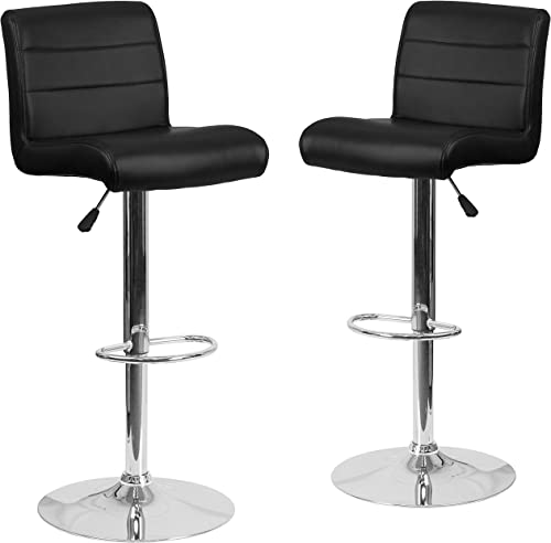 Flash Furniture 2 Pk. Contemporary Black Vinyl Adjustable Height Barstool with Rolled Seat and Chrome Base