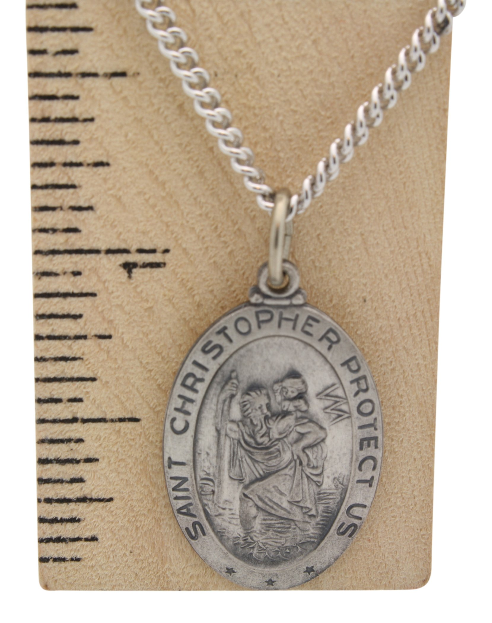 All Patron Saints Oval St Christopher Medal Necklace in Solid Sterling Silver Protect Us Medal 24 x 16 MM With 24 Inch Chain (Adult Male) by All Patron Saints (Image #6)