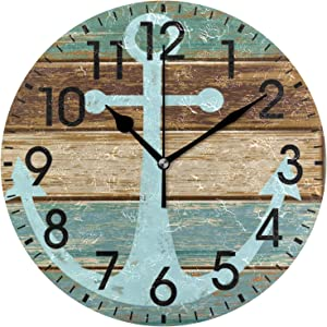 ALAZA Home Decor Anchor Marine Wooden Planks Rustic Nautical 9.5 inch Round Acrylic Wall Clock Non Ticking Silent Clock Art for Living Room Kitchen Bedroom