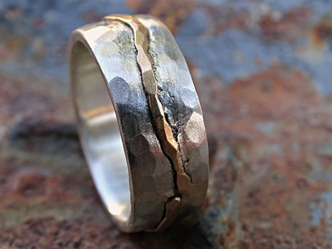 c39fb3af49268 Amazon.com: rustic wave ring gold silver, cool wedding band for men ...