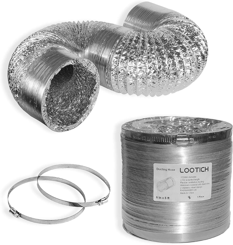LOOTICH Tubo Flexible de Aluminio Ø153mm, Longitud 2.5m para Conducto de Aire de Ventilación Sistemas con 2 Abrazaderas de Acero: Amazon.es: Bricolaje y herramientas