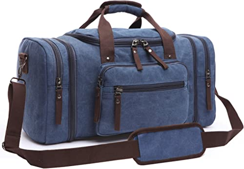 Canvas Duffel Bag, Aidonger Vintage Canvas Weekender Bag Travel Bag Sports Duffel with Shoulder Strap Dark Blue