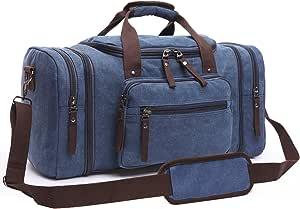 Canvas Duffel Bag, Aidonger Vintage Canvas Weekender Bag Travel Bag Sports Duffel with Shoulder Strap (Dark Blue)