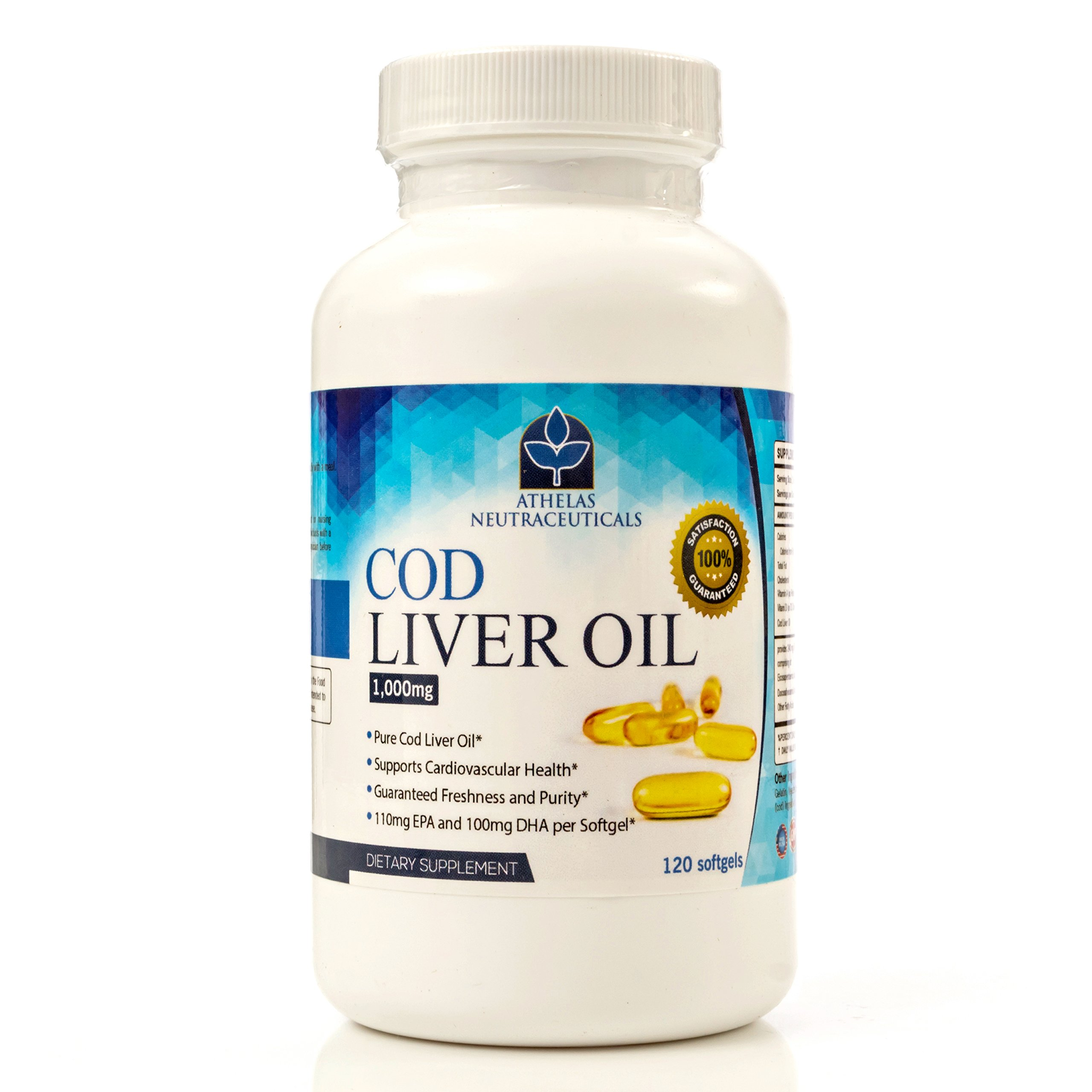 Cod Liver Oil Capsules - Premium Certified Pure and Fresh - Triple Strength - Heart Healthy - 120 Softgels - Natural Supplement - 240mg of Omega 3 Fatty Acids - No Fishy Taste!