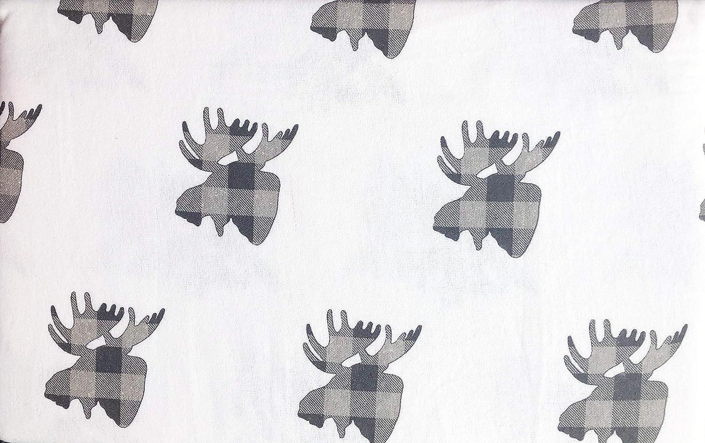 Glacier Mountain Bedding 4 Piece Cotton Turkish Flannel Queen Size Sheet Set Plaid Black Gray Moose Heads on White