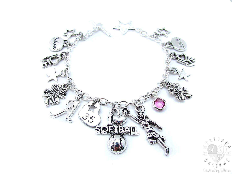 Amazon: Softball Charm Bracelet, Softball Gifts, Softball Bracelet,  Softball Jewelry, Softball Team Gift, Girls Softball Gift: Handmade