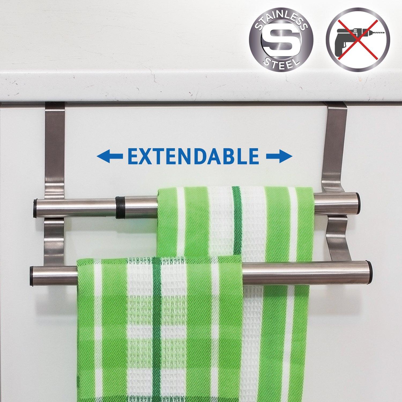 Tatkraft Double Portasciugamani Estensibile da Appendere Sopra la Porta, Realizzato in Acciaio Inox 25-40 X 14 X 12 cm
