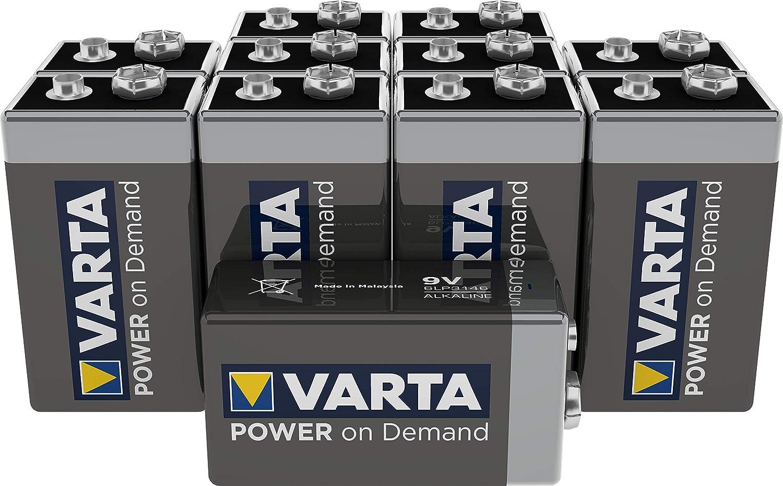 Pila de 9 V VARTA Power on Demand. Paquete de 10 unidades - inteligente, flexible y potente para consumidores móviles finales