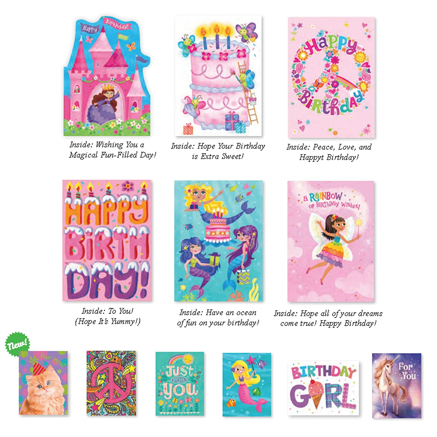 Peaceable Kingdom / Birthday Card Set for Girls - Box of 12 cards and envelopes AX-AY-ABHI-25021