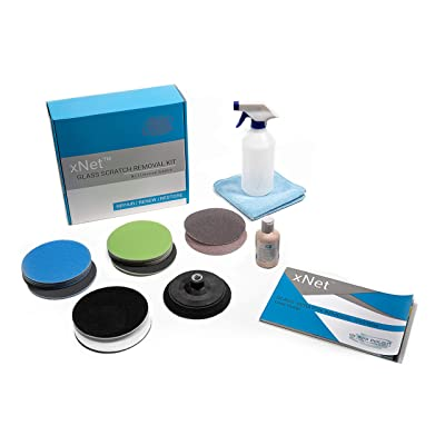Glass Polish GP25022 PRO Glass Scratch Removal Kit/xNet System/Removes Scratches, Grinder Welder Splatter Damage, Graffiti and Acid Etching, Hard Water Deposits/Suitable for Any Type of Glass: Automotive