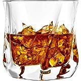 JoyJolt Aurora Crystal Whiskey Glass – Twisted Whiskey Glasses - Set of 2 Old Fashioned Liquor Glasses – Crystal Scotch…