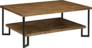 "Stone & Beam Bernice Industrial Reclaimed Parquet Wood Coffee Table, 42""W, Natural and Black"