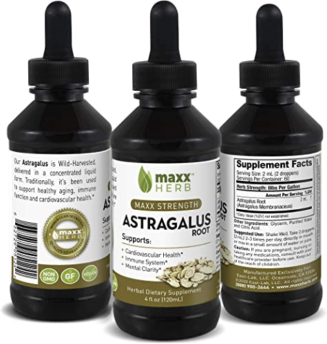 Maxx Herb Astragalus Root Liquid Extract 4 Oz Bottle with Dropper Vegan, Absorbs Better Than Astragalus Root Capsules, for Immune System Support, Cardiovascular Health, 60 Servings 1 Bottle