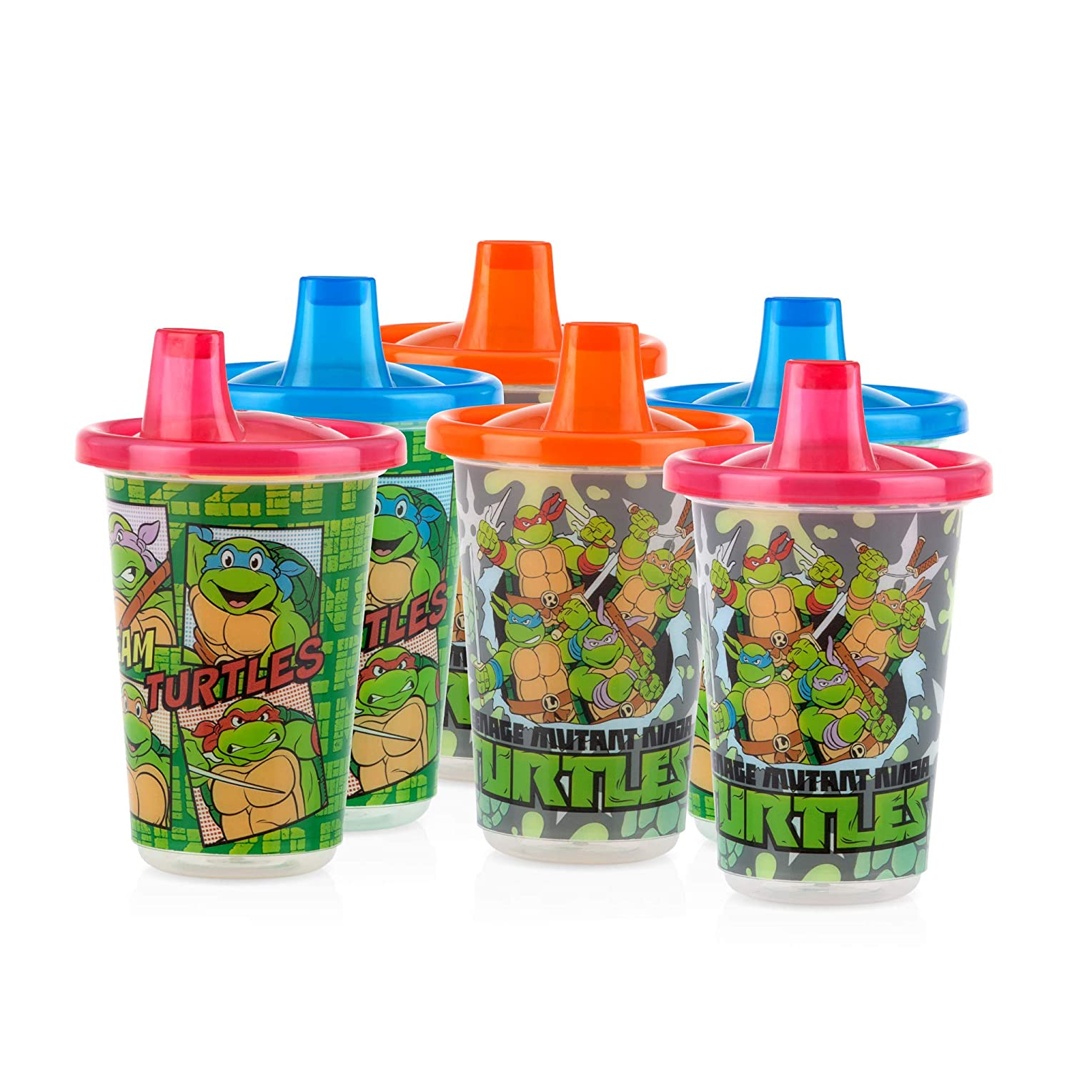 Nuby 6 Pack Wash or Toss Reusable Cups & Lids with Spout, Nickelodeon Teenage Mutant Ninja Turtles, 10 Oz