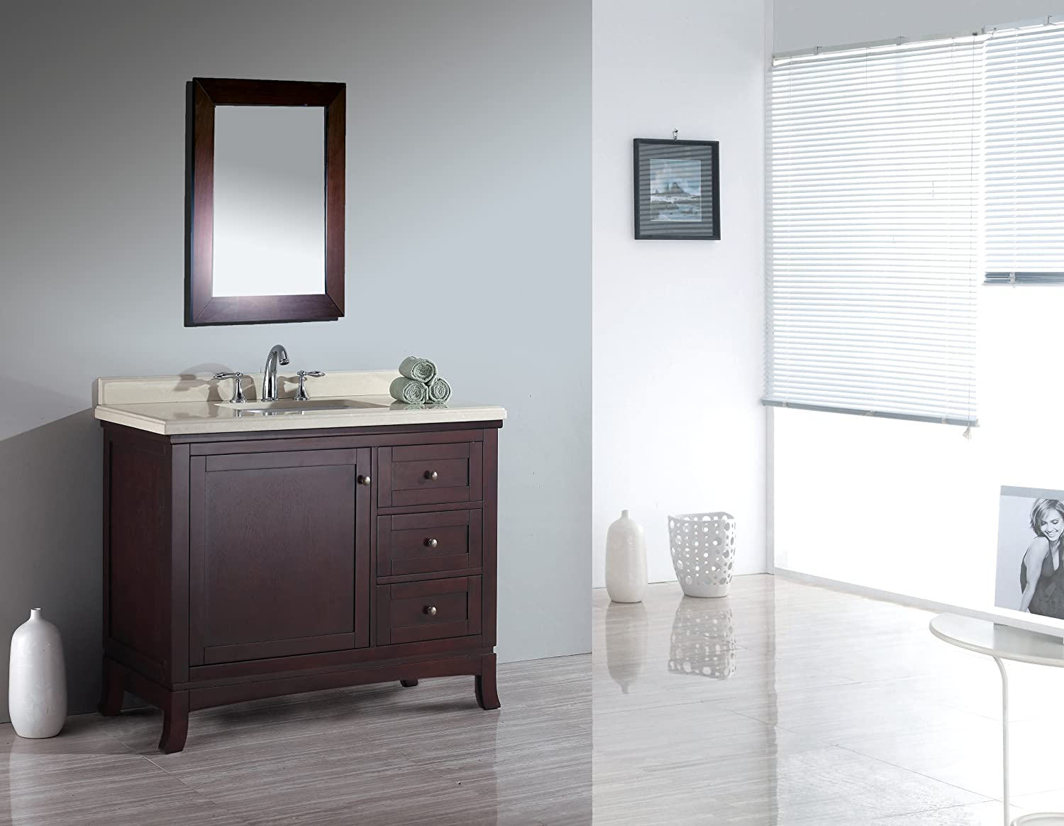 Ove Decors Velega 42 Bathroom 42-Inch Vanity Ensemble with Marble ...