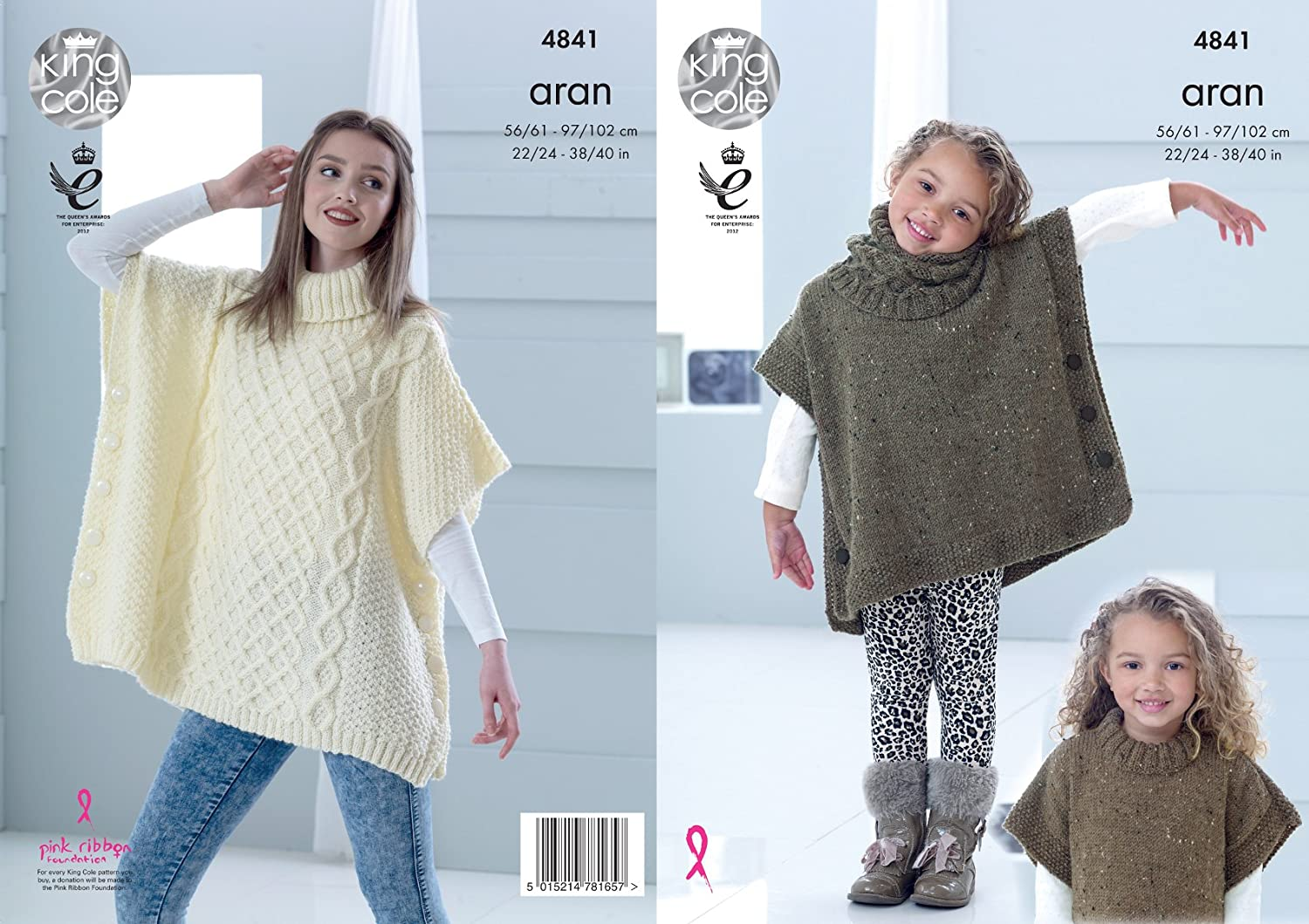 King Cole 4602 Knitting Pattern Girls Easy Knit Ponchos In King Cole