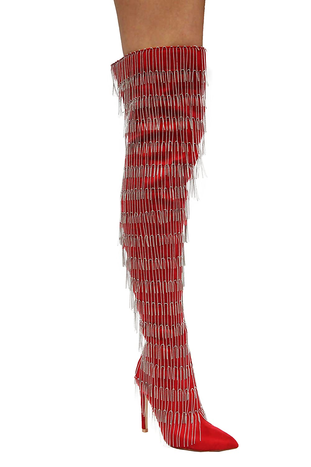 bd693d916d32 CAPE ROBBIN Gigi-138 Red Pointy Metal Silver Fringe Thigh High Stiletto  Boots