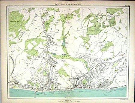 Map Of England Hastings.Old Original Antique Victorian Print Bartholomew Map England 1891
