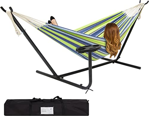 Best Choice Products Outdoor Double Hammock Set w Steel Stand, Cup Holder, Tray, and Carrying Bag – Blue Green Stripe