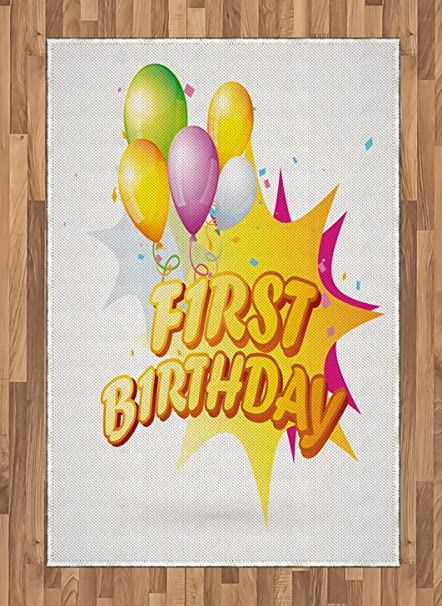 Ambesonne 1st Birthday Area Rug Toddler First Party Celebration With Quote And Balloons Kids Design