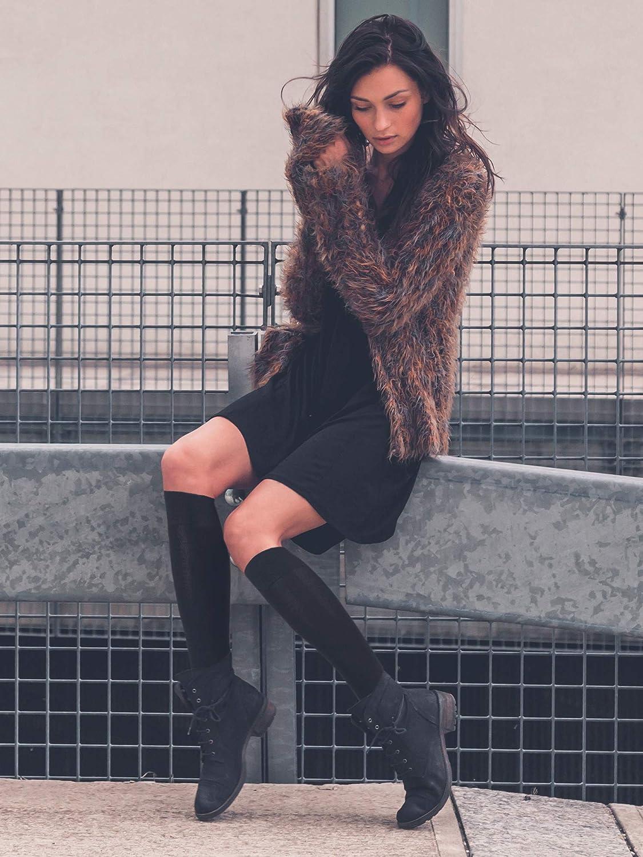 Noir, Gris Fonc/é, Blanc, 3 Paires SATINIOR Chaussettes Hautes en Coton Casual Chaussettes Hautes en Tricot Chaussettes de D/émarrage pour Femmes