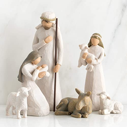 Willow Tree Nativity Starter Figures with The Three Wisemen Plus Metal Star Backdrop, 14-Piece Set