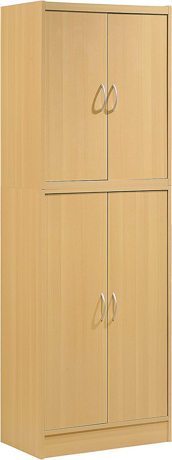 Hodedah 4 Door Kitchen Pantry with Four Shelves, Beech
