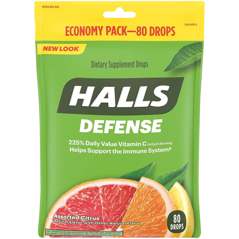 Halls Defense Citrus Vitamin C Drops - 80 Drops (1 bag of 80 drops)