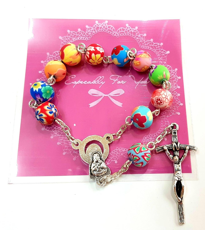 Amazon.com: Talisman4U Catholic One Decade Rosary 8mm Round Colorful ...