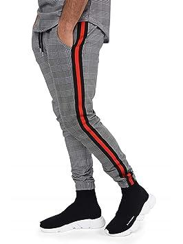 collection entière prix pas cher grand Prix Project X Paris Pantalon Jogging à Carreaux et Bandes Contrastantes Homme  XL, Noir