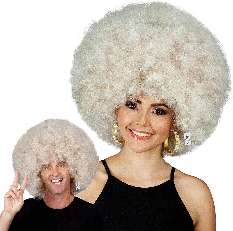 Fits Adults Men Kids Huge Blonde Jumbo Afro Disco Costume Wigs 70s Costumes Accessories Deluxe 70s Afro Wig Women