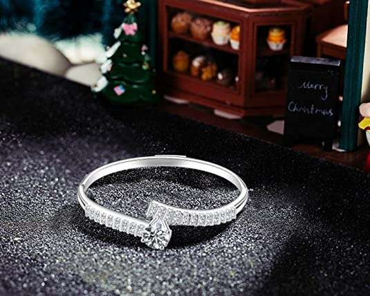 c71732900 Amazon.com: Menton Ezil Mother's Day Gifts Encounter Love Bypass Bangle  Bracelets in Silver Diamond Mothers Day Gift Jewelry for Girl: Jewelry