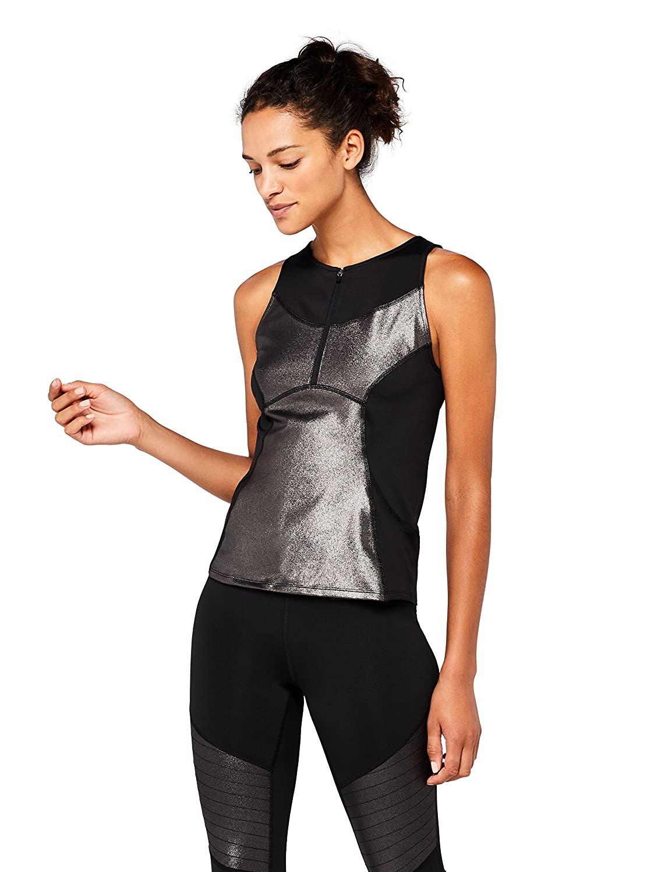Marca Amazon - AURIQUE High Camiseta Deportiva Metalizada Mujer