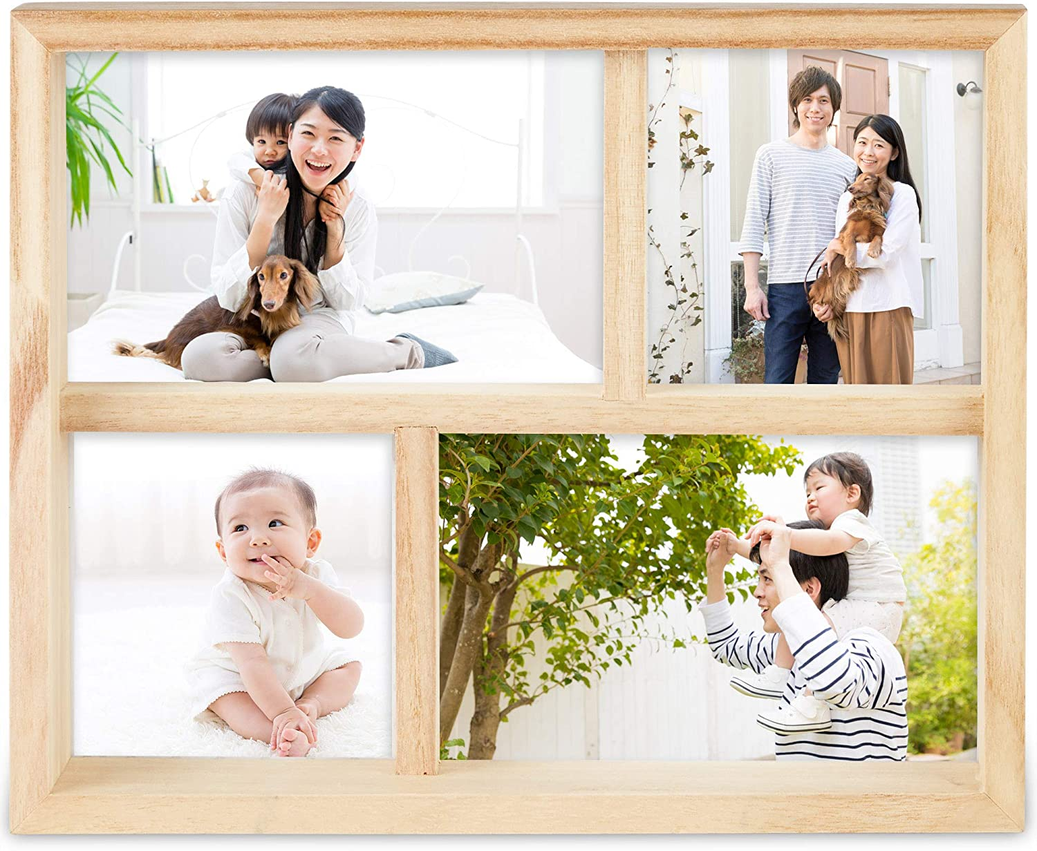 Standing /& Wall Mounted 4 Picture Photo Frame 4 x 6 Wooden Effect Multi Quad Layered