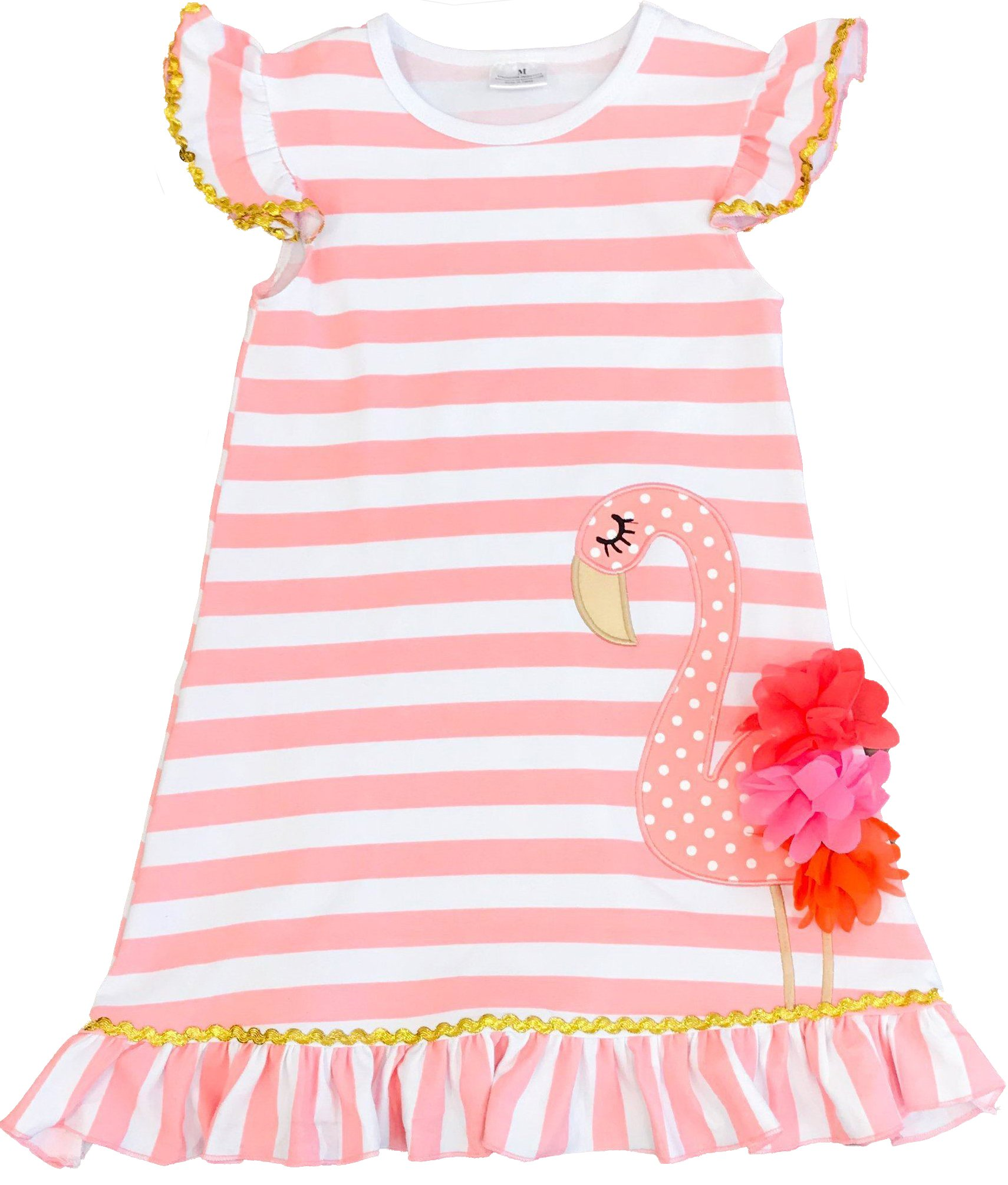 Toddler Little Girls Summer Flamingo Coral Stripes Dress 18-24M/XS