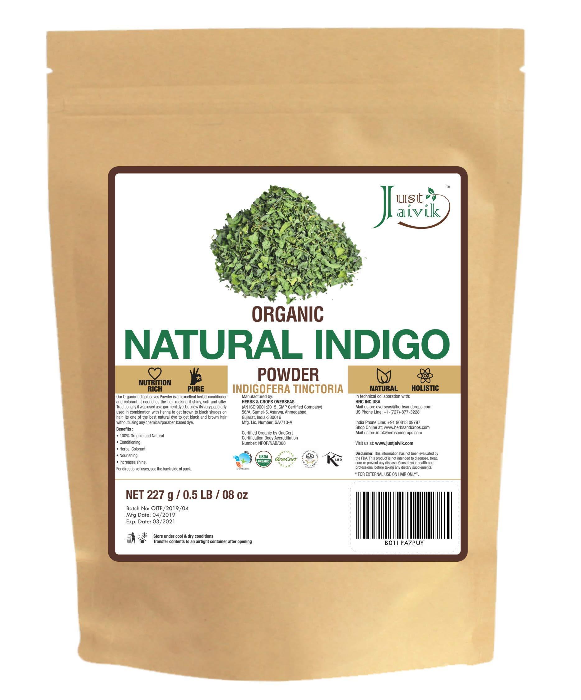 Just Jaivik 100% Organic Indigo Powder - 227 gms / 1/2 LB Pound / 08 Oz - Indigofera Tinctoria- A 100% Organic Hair Dye - Color your hair dark brown to black with Henna by Just Jaivik