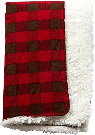 Trend Lab Brown and Red Buffalo Check Faux Shearling Blanket 102218
