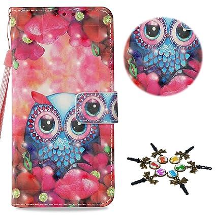 Stenes Lg Aristo 2 Case Draw Series Night Owl Flowers Flip Wallet Credit Card Slots