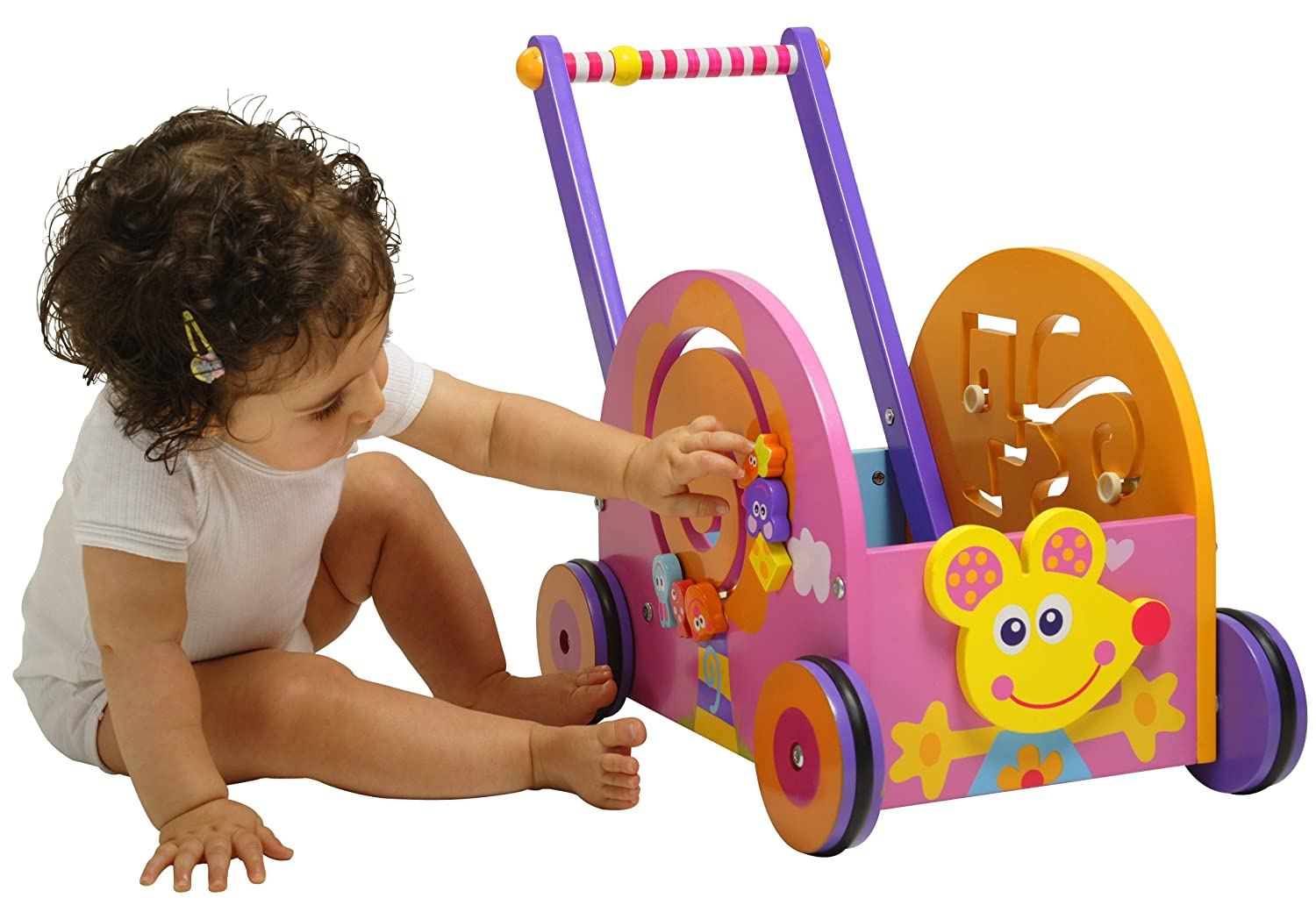 Boikido Wooden Push And Play - Mouse Wagon Pink For Toddler Girls