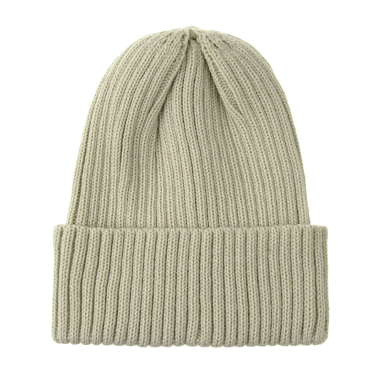 511c51ef696 WITHMOONS Knitted Ribbed Beanie Hat Basic Plain Solid Watch Cap AC5846  (Beige) at Amazon Men s Clothing store