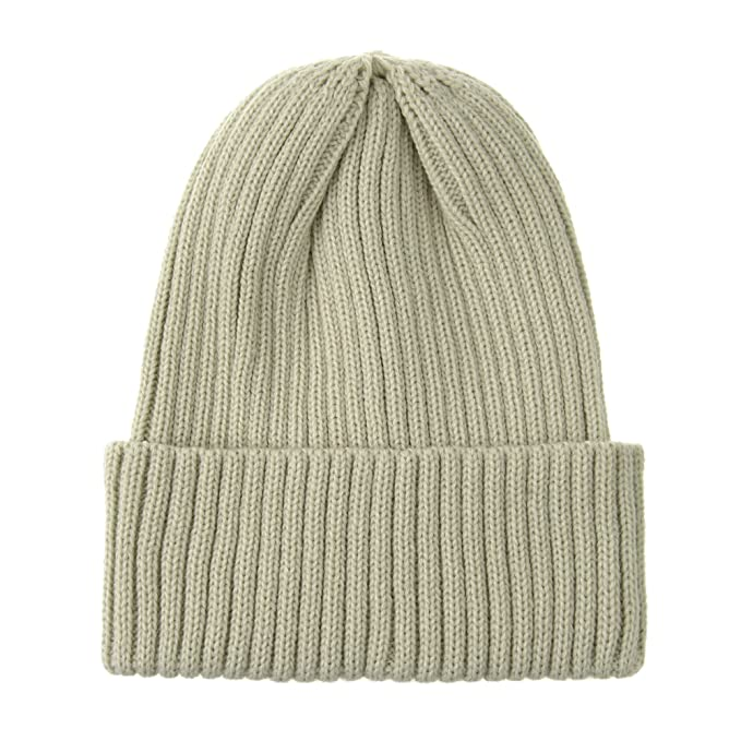 94ead72a8a59e WITHMOONS Knitted Ribbed Beanie Hat Basic Plain Solid Watch Cap AC5846  (Beige)