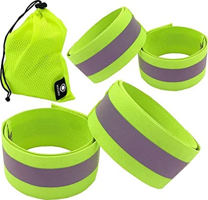 Symbol Of The Brand 1 Pair High Visibility Band Reflective Wristbands Elastic Ankle Wrist Bands Arm For Waling Cycling Running Outdoor Sports Sports & Entertainment Running Arm Warmers