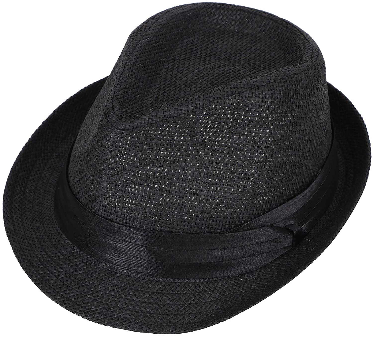AshopZ Unisex Summer Outdoors Short Brim Straw Fedora Hat
