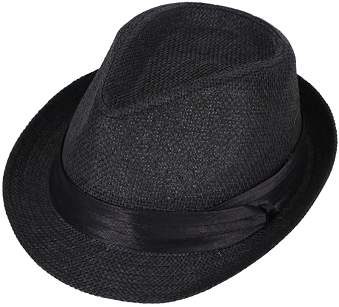 6f5d6d4f72a5e TAUT Women Men s Solid Color Short Brim Sun Fedora Hat with Band Black SM