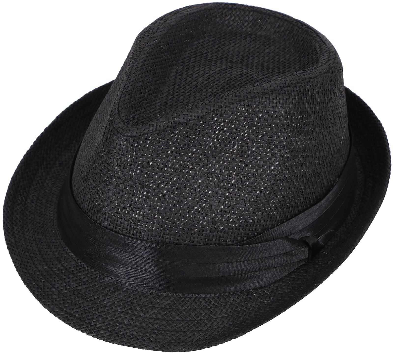 Livingston Unisex Summer Straw Structured Fedora Hat w/Cloth Band, Black, L/XL