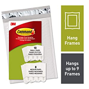 Command, PH203-18NA, Picture Hanging Strips, 10 Small Pairs and 8 Medium Pairs, White, in easy-to-open packaging